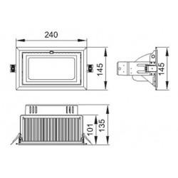 Dimensiones foco rectangular led